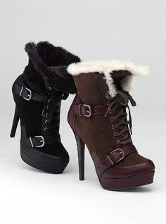 Colin Stuart, you are killing me. Lace-up Bootie with Faux Fur Cuff. To. Die. For. $118