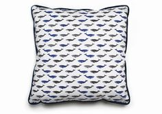 This decorative throw pillow features grey and blue whales on the front and back with blue piping all the way round. This whale cushion cover will be make a perfect gift. I start my design with a hand-cut lino of a whale and then print this numerous times on paper. The printed pattern is then scanned into Adobe Illustrator and designed into a pattern. The final printed fabric is of high quality combed cotton fabric and then crafted into handmade cushions.  The grey and blue whale pattern is…