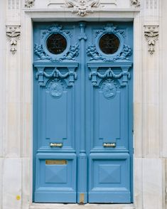 Blue Parisian Door // Paris Doors Paris Door by YorkAvenueShop