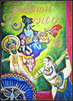 """i made this for a school assignment which was """"cultural diversity of india i copied the kathakali dancer and the peacock from """"prasadesign"""" painting her. cultural diversity of india Diversity Poster, Unity In Diversity, Cultural Diversity, Diversity Quotes, Incredible India Posters, Save Water Poster Drawing, Drawing Competition, Poster Competition, India Painting"""