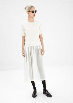 casual, winter, and ballet inspired. sheer surprise. #commedesgarcons #totokaelo Comme des Garcons SHIRT Short Sleeve Dress (Ecru / Beige)