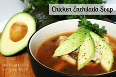 Chicken Enchilada Soup With Avocados. 200 calories per serving!