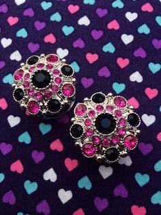 Pink & Black Diamante Plugs- 18mm-24mm by GeekyWears on Etsy https://www.etsy.com/listing/191999294/pink-black-diamante-plugs-18mm-24mm