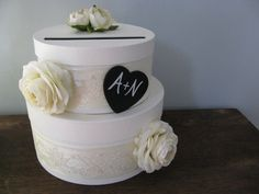 Rustic Victorian Wedding Card Box 2 tiered with Chalkboard or Wood Personalized Tag Ivory Ranunculus and Ivory Lace