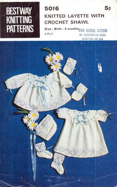 Vintage 1950s Bestway Babies Set of Ribboned and Lace Matinee Coat, Dress, Bonnet, Mitts and Bootees