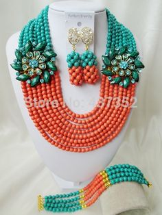 bridal wedding jewelry on sale at reasonable prices, buy Brand Laanc Cyan Blue Coral Color Stone African Beads Bridal Wedding Jewelry Sets from mobile site on Aliexpress Now! Orange And Turquoise, Teal Green, Turquoise Beads, Turquoise Necklace, Coral Jewelry, Beaded Jewelry, Beaded Necklace, Diy Store, Jewelry Making Tools