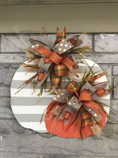 diy fall decor Excited to share this item from my shop: Christmas in july Fall door hanger, pumpkin door hanger, fall door hanger, halloween Thanksgiving Wreaths, Fall Wreaths, Diy Fall Wreath, Thanksgiving Ideas, Diy Thanksgiving Decorations, Ribbon Wreaths, Advent Wreaths, Tulle Wreath, Floral Wreaths