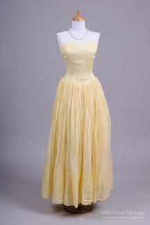 1950's Lemon Yellow Organdy Vintage Gown Mill Crest Vintage