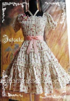 Pink Cotton Square-collar Flowers Bow Lolita Dress