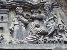 detail of tympanum above north portal of west front, Basilica of St Denis, Paris  X century