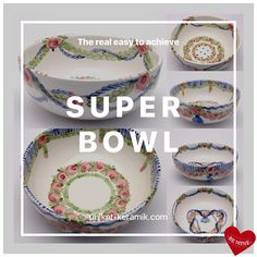 Time for real Super Bowl 😉 Super Bowl, Decorative Plates, Hand Painted, House Design, Unique, Tableware, Interior, Easy, Tablewares