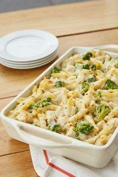 This 5-ingredient dinner is not your average chicken Alfredo recipe. This easy, cheesy pasta casserole is packed with palate-pleasers like creamy Alfredo sauce and shredded mozzarella that everyone in your family will love, plus white-meat chicken and chopped broccoli for a hearty dose of protein + veggies. Best of all, it preps in 15 minutes flat and is ready to enjoy in just over half an hour. This one's a dinner winner.