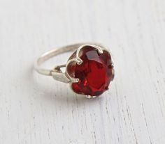Vintage Ruby Red Glass Stone Ring - Sterling Silver Signed Sarah Coventry Adjustable Cocktail Ring Jewelry / July Birthstone Solitaire by Maejean Vintage on Etsy, $34.00