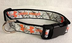White Camo and Orange Under Armour Dog Collar by lincolnlabel