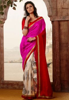 Red, Pink and Off White Art Bhagalpuri Silk Saree with Blouse Online Shopping: SZG180
