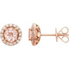 651986 / 14kt Rose / Pair / Genuine Morganite and 1/5 CTW Diamond Earrings With Backs #ValentinesDay #Love Locate a jeweler here: http://www.stuller.com/locateajeweler