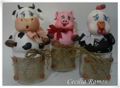 Conjunto para Condimentos Bichinhos Pintura Country, Biscuits, Diy And Crafts, Polymer Clay, Projects To Try, Jar, Christmas Ornaments, Holiday Decor, Wooden Spoon Crafts
