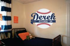 "Baseball Name Wall Decal - Decal for Boy Baby Nursery or Teen Boys Room 23""H x 28""W Wall Art on Etsy, $42.95"
