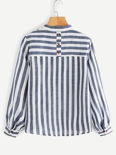 V Neck Striped Blouse -SheIn(Sheinside) - V Neck Striped Blouse -SheIn(Sheinside) Source by Jenniferleponez - Blouse Styles, Blouse Designs, Donia, Blouse Models, Blouse Neck, Belted Shirt Dress, Stripes Fashion, Classy Outfits, Hijab Fashion