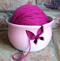 Love this yarn bowl. Pink Yarn Bowl with Mint Green interior and Butterfly cut out. Crochet Wool, Wool Yarn, Yarn Bowl, Polymer Clay Creations, Handmade Pottery, Clay Projects, Loom Knitting, Yarn Crafts, Pink And Green