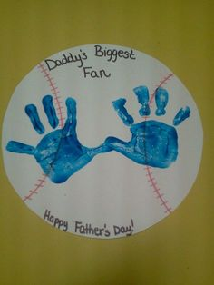 Cute Father's Day idea for toddlers-Cut paper plate sized circles from poster board, then draw the seams on with a red sharpie. Help the children add their handprints. So cute!