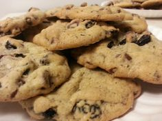 Oreo chocolate chip cookies...fresh from the oven!  Recipe: 1 cup butter, 1 cup sugar, 1/2 cup brown sugar, 2 eggs, 2 teaspoons vanilla, 2 1/4 cups flour, 1 teaspoon baking soda, 1/2 teaspoon salt, 1 twelve ounce bag semi-sweet chocolate chips, 15 oreos (crushed). Cream together butter and sugar, beat in eggs and vanilla. In a separate bowl, combine flour, salt, and baking soda. Gradually beat into butter/sugar mixture, add choc chips/oreos and stir in. Bake @375 for 10 min.  Makes 3.5…