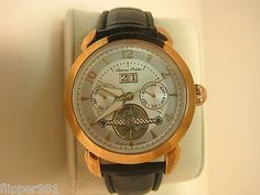 Automa Poletto Wristwatch Rose Gold color finish 35 jewels Black Leather Band