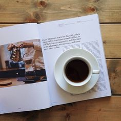 """@coffeetablemags's photo: """"Good morning wednesday! I'm reading an article about Klaus Thomsen (co-owner of The Coffee Collective) in Alquimie, while enjoying a cup of their filter coffee. #coffeetablemags #alquimie #coffeediary #hamburg #vscocam"""""""