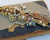 Vintage AB Rhinestone and Pearl Layered Assemblage Bracelet...Looking For Gold