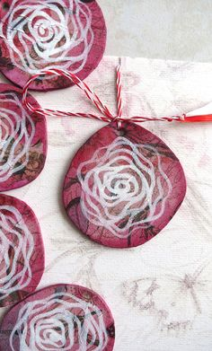 Beginning Of Spring, Red And White, Crochet Earrings, Hand Painted, Rose, Pink, Roses, Pink Roses
