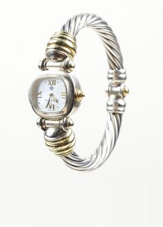 Sterling Silver and 14K Yellow Gold David Yurman Cable Watch