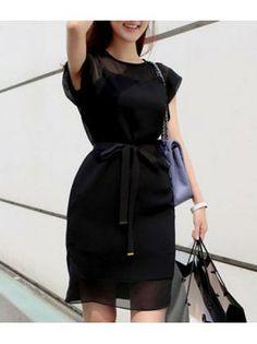 Above Knee Woman Cap Sleeve Black Sheath Dress