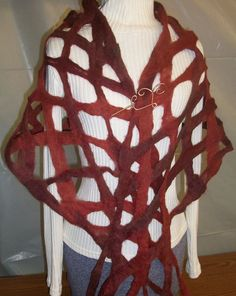 Lattice Felted Shawl Scarf in Deep Red Alpaca Fiber OOAK. $70.00, via Etsy.
