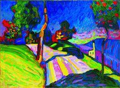 Wassily Kandinsky - Murnau - Kohlgruberstrasse, 1908 - Oil on cardboard