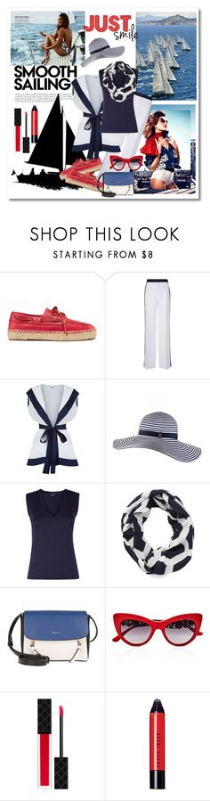 """""""Smooth as Silk Sailing"""" by sjk921 ❤ liked on Polyvore featuring Tory Burch, Victoria, Victoria Beckham, Black, Gameday Couture, DKNY, Dolce&Gabbana, Gucci and Bobbi Brown Cosmetics"""