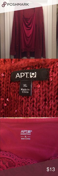 2 piece sequined Sweater and Camisole XL Brick red sequined sweater and camisole (worn once) Apt. 9 Sweaters Cardigans