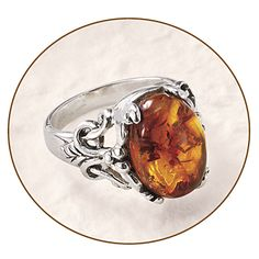 Amber Wiccan Ring at Pyramid Collection
