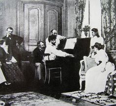 Claude Debussy entertaining guests at the piano, 1893 Debussy Piano, Claude Debussy, Camille Claudel, Ernest, The Jam Band, Playing Piano, Music Composers, Piece Of Music, Spotify Playlist