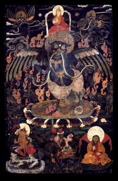 Garuda, Black. (Tibet); an enlightened deity for removing afflictions caused by nagas & earth spirits. Historically, from classical Indian mythology, Garuda is the king of birds. In Tantric Buddhism, Garuda is yet another form in which various buddhas arise for the purpose of removing disease and injury caused by nagas and poisoning from earth spirits. Metaphorically the worst 'poisons' are desire, hatred and ignorance. Various forms of Garuda are found in both the Nyingma and Sarma…