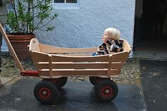 Large Slatted Pull Along Wooden Cart