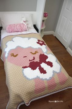 Repeat Crafter Me: Crochet Corner to Corner Baby Sheep Graphgan; I absolutely love this pattern C2c Crochet Blanket, Crochet Afgans, Crochet Blanket Patterns, Crochet Pixel, Motifs Afghans, Repeat Crafter Me, Corner To Corner Crochet, Baby Sheep, Baby Lamb