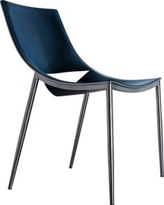 Sloane dining chair features carbon steel or painted steel frame with leather seating. Details Available in carbon steel with black leather or white painted ste
