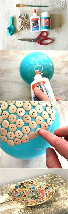 Button dish: if you're looking for a fun project to do with your littles, or just for yourself, this is one to add to your list. It's a little time consuming because of drying time, but it's super inexpensive (possibly FREE for some who may have all the supplies on hand), really easy to make, and the result is so cute! #button_crafts_to_sell