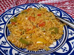 Spicy Moroccan Rice with Tomatoes and Peppers