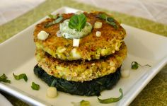 Zucchini Cakes with Spinach, Arugula & Basil Sour Cream