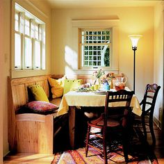 I love the idea of having a bench on one side of the dinning table instead of chairs all around. It just makes everything seem so much more cozy and what kid doesn't love bench seats. I like how it's fashioned in wood and how you could add extra storage below for pillows, blankets, rarely used dishes.