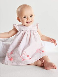 This Pink Bunny Smock Dress And Knicker Set Is Perfect For A New Arrival. Cut With Frilled Sleeves, Bow Back Detailing And Embroidered Bunnies On The Skirt, It Is A Beautiful Addition To Baby?S New Wardrobe. Whole Product : 98% Cotton;Whole Product : 2% Metallised Fibre 40 gentle action Cotton Fabric. Spring Dresses, Spring Outfits, Kids Outfits, Smocked Baby Dresses, Flower Girl Dresses, Bow Back, Smock Dress, New Wardrobe, Smocking