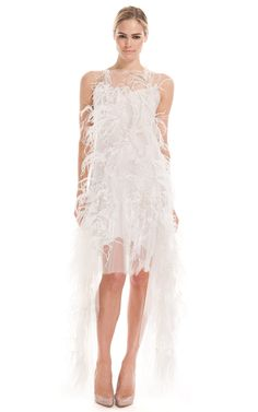 Cascade Tulle Feather Dress by Marchesa for Preorder on Moda Operandi