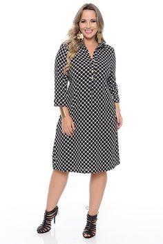 vestido plus size 10671 Size 20 Dresses, Big Size Dress, Dresses Uk, Plus Size Outfits, Cute Dresses, Casual Dresses, Fashion Dresses, Curvy Fashion, Plus Size Fashion