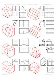 losmuertosdeldiedrico: PERSPECTIVA ISOMÉTRICA 1º BACHILLERATO Isometric Drawing Exercises, Autocad Isometric Drawing, Orthographic Drawing, Architecture Drawing Art, Interesting Drawings, Christmas Border, Disney Background, Cad Drawing, Drawing Practice